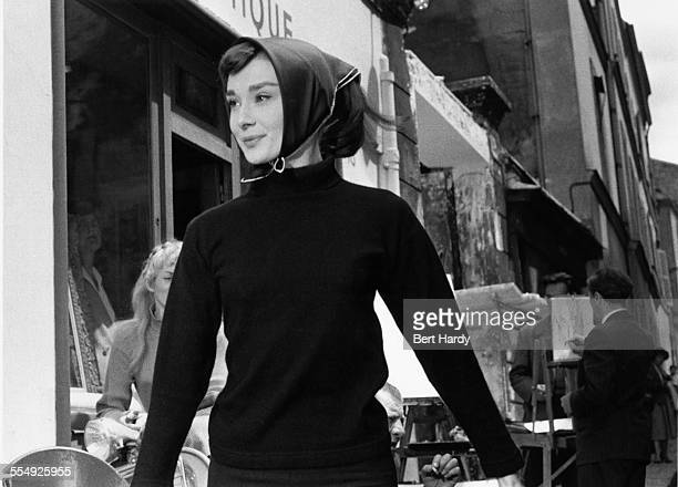 Belgian-born Actress Audrey Hepburn on the set of 'Funny Face', Paris, 1956. Original Publication: Picture Post - 8540 - Audrey Dances With Astaire -...