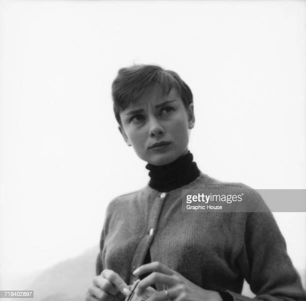 Belgianborn actress Audrey Hepburn on the terrace of the Restaurant Hammetschwand at the summit of the Bürgenstock Switzerland circa 1955