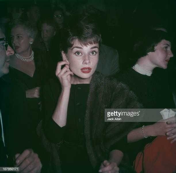 Belgianborn actress Audrey Hepburn wearing a fur stole circa 1955