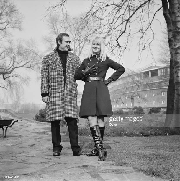 BelgianFrench director and screenwriter Marc Simenon with his fiancee French actress Mylene Demongeot UK 4th March 1968