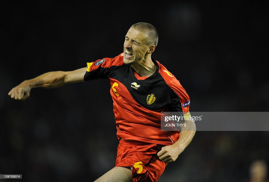 Belgian's defender Timmy Simons celebrates after scoring during their Euro 2012 group A qualifying football match against Kazakhstan at King Baudouin stadium in Brussels on October 7, 2011.