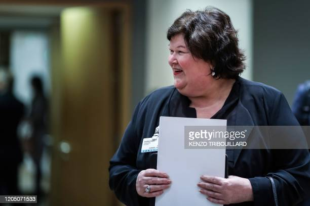 Belgian's Minister of Health Social Affairs Asylum Policy and Migration Maggie De Block arrives for a Justice and Home Affairs Council at the...