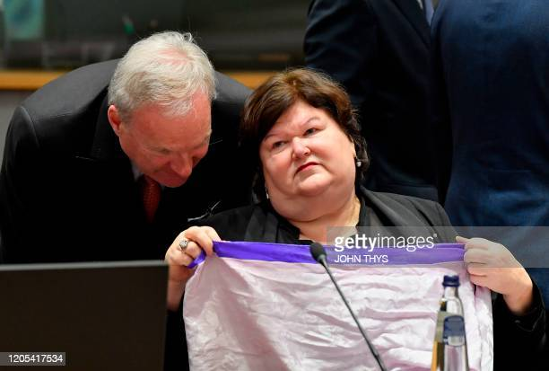 Belgian's Minister of Health Social Affairs Asylum Policy and Migration Maggie De Block attends the Ministers of Health meeting on the novel...
