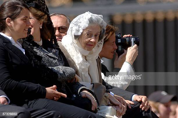 Belgian's Queen Fabiola and her family attends Pope Benedict XVI's general audience during the Holy Week in St. Peter's square on April 12, 2006 in...