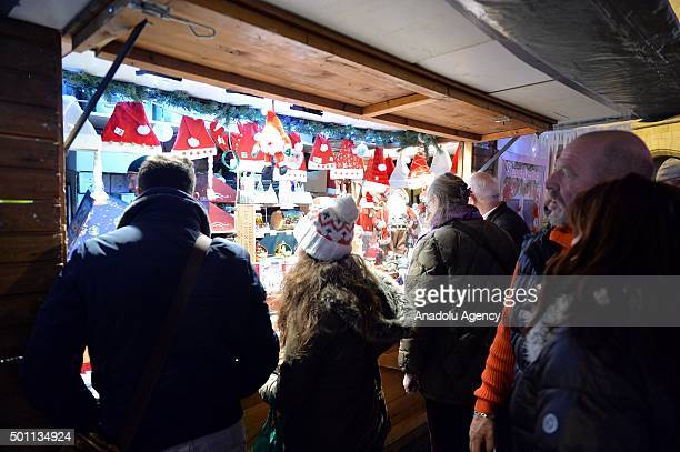 Belgians start their Christmas preparation and shopping at a bazaar around SaintCatherine and Grande Place selling Christmas goods in Brussels...