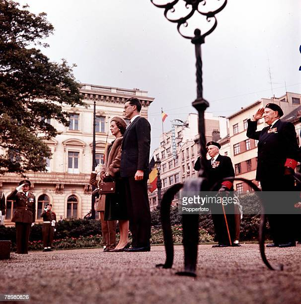 1960 Belgium A picture of King Baudoin of Belgium and his fiancee Princess Fabiola of Spain on her 1st appearance in Brussels