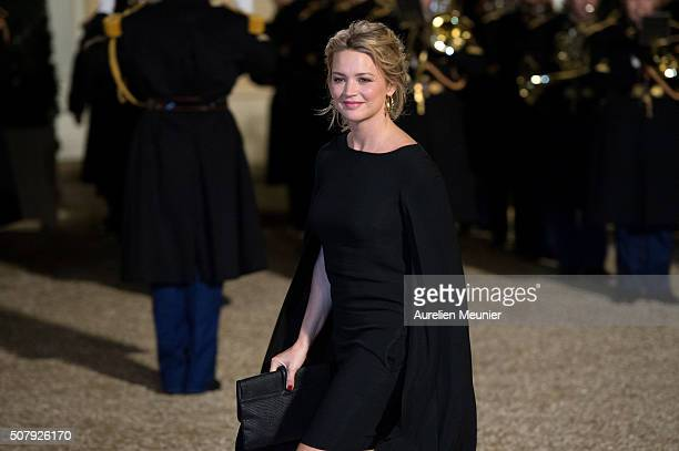 Belgium actress Virginie Efira arrives at Elysee Palace as French President Francois Hollande receives the Cuban President Raul Castro for a State...