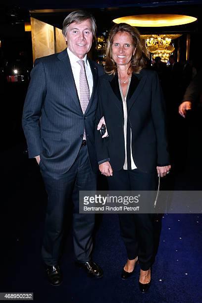 Belgium Ambassador Patrick Vercauteren Drubbel with his wife Alexandra attend the 'Paris Merveilles' Lido New Revue Opening Gala on April 8 2015 in...