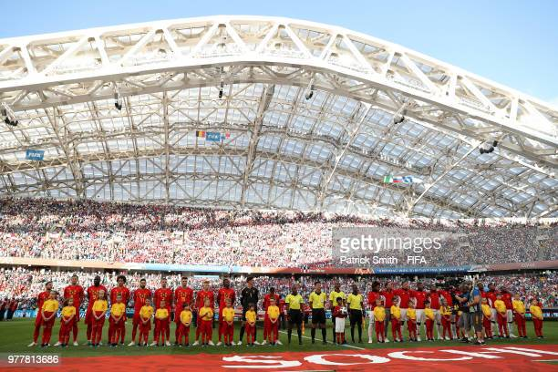 Belgium and Panama teams line up prior to the 2018 FIFA World Cup Russia group G match between Belgium and Panama at Fisht Stadium on June 18 2018 in...
