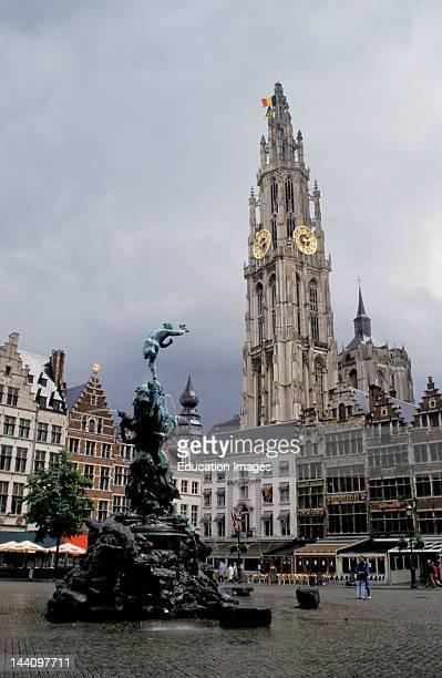 Belgium Antwerp Antwerp Cathedral With Brabofontein In The Foreground Grote Markt
