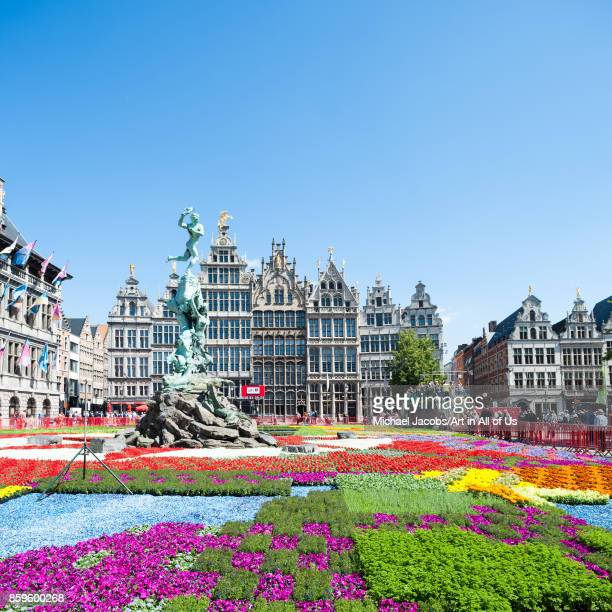 Belgium Antwerp flower carpet on the Grote Markt 6th june 2015