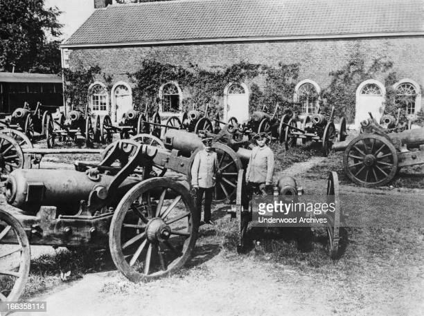 Belgium artillery captured by the Germans during the battle Liege Belgium circa 1914