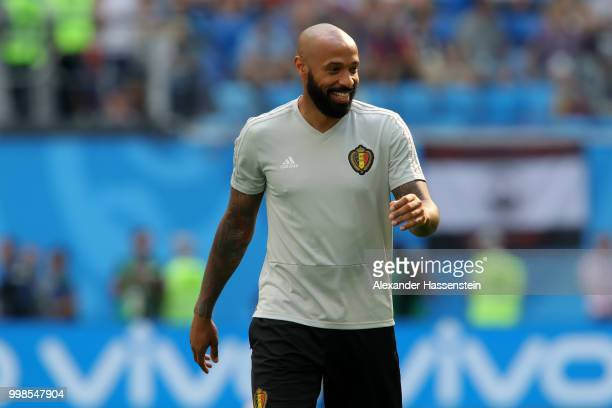 Belgium assistant coach Thierry Henry looks on during the warm up prior to the 2018 FIFA World Cup Russia 3rd Place Playoff match between Belgium and...