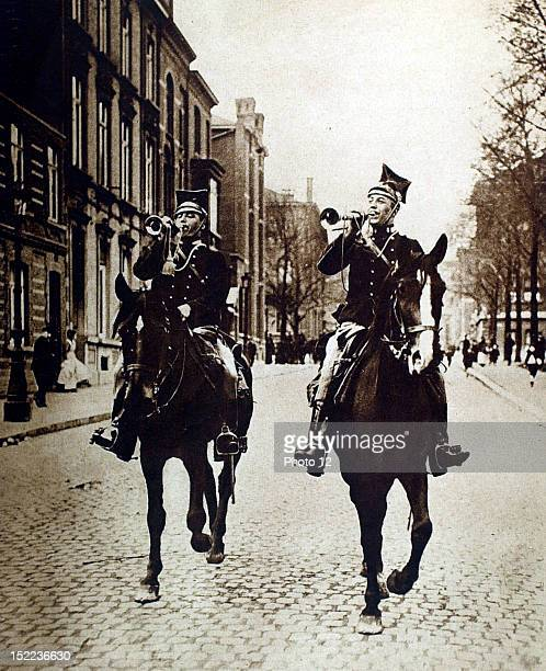 Belgium August 1914 World War I The call to arms in the streets of Liege lancers travelling up and down the city blowing the trumpet