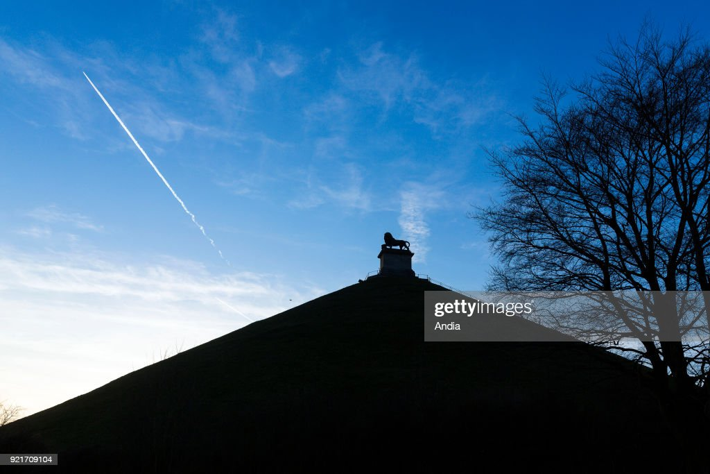 Belgium, Braine-l'Alleud: the Lion's Mound, a monument commemorating the Battle of Waterloo on June 18, 1815.