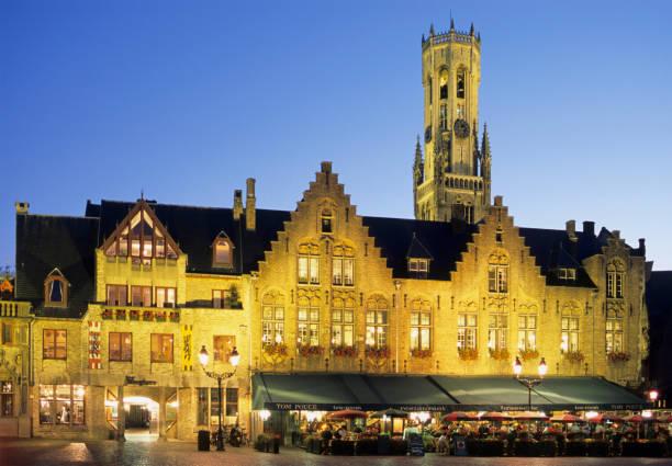 Belgium Bruges night street scene