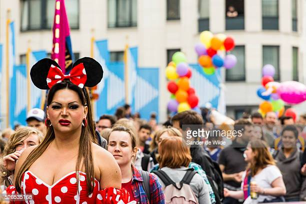 Belgium Brussels 19 May 2013 All sorts of gay people dressed up in the parade with disney mouse in front About 80000 participants at the Belgian...