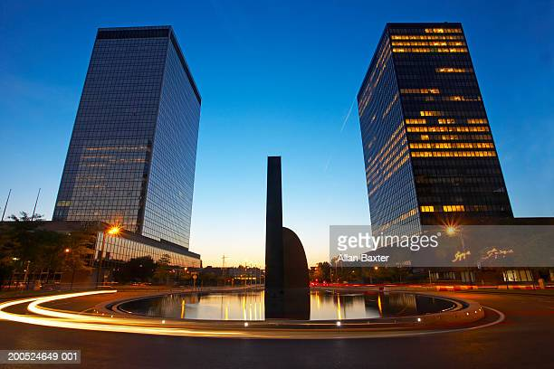 Belgium, Brussels, business district, two skyscrapers by fountain