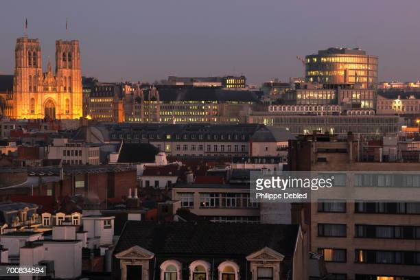 Belgium, Brussels, Cathedral of St Michael and St Gudula above the rooftops of the city