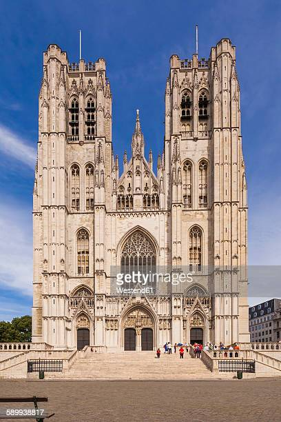 belgium, brussels, cathedral of st michael and st gudula - cathedral of st. michael and st. gudula stock photos and pictures