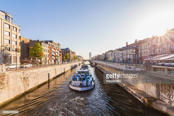 belgium, brussels, charleroi canal, cargo ship - brussels capital region stock pictures, royalty-free photos & images