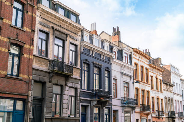 Belgium, Brussels, City of Brussels, Facades of old town townhouses