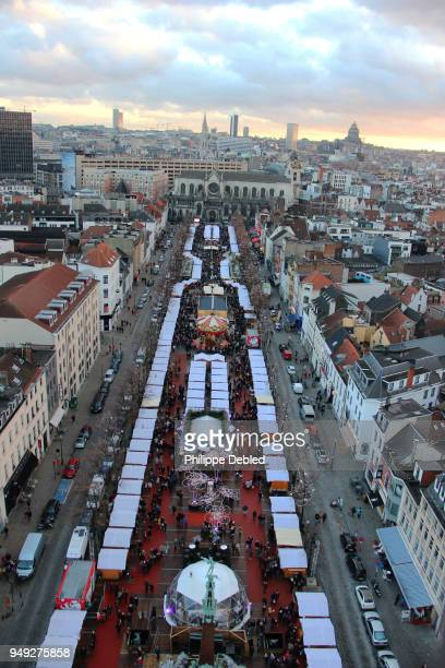 Belgium, Brussels, City skyline and christmas market on the fish-market-place in the old town