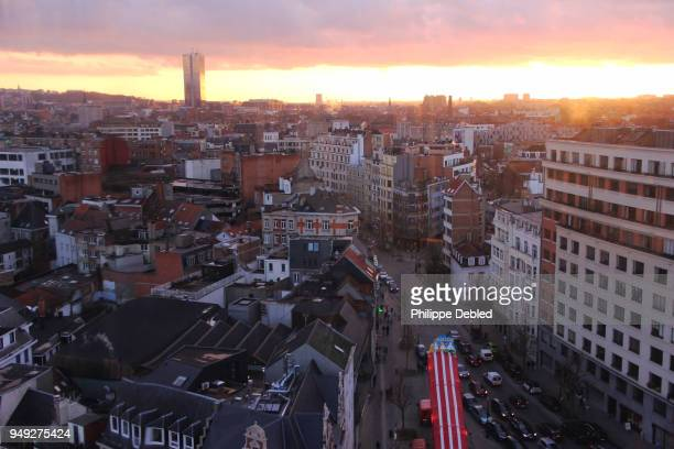 Belgium, Brussels, City skyline at Sunset in the old town
