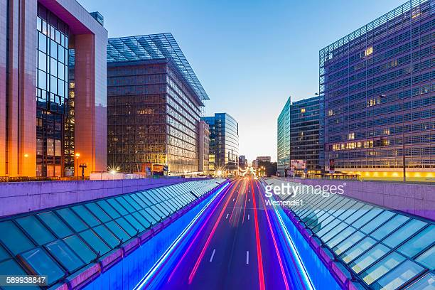 Belgium, Brussels, European Quarter, Berlaymont building right, Rue de la Loi in the evening