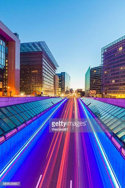 Belgium, Brussels, European Quarter, Berlaymont building right, Rue de la Loi in the evening
