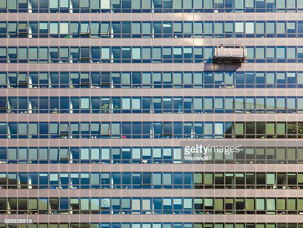 Belgium, Brussels, European Quarter, Charlemagne building, European Commission, window cleaner
