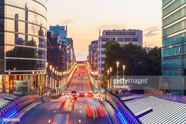 Belgium, Brussels, European Quarter, Rue de la Loi in the evening