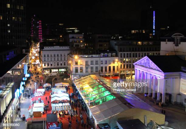 Belgium, Brussels, High angle view of Place de la Monnaie and the ice rink for Christmas time