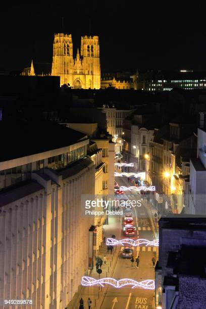 Belgium, Brussels, Illuminated street of the city center with the Cathedral Saint michael and St Gudula in the background