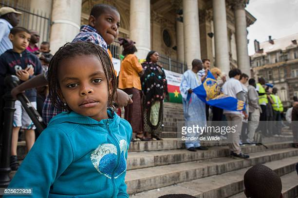 Belgium, Brussels, . Members of the Brussels A manifestation for a secular and democratic Mali. Speeches at the manifestation, organized by the...