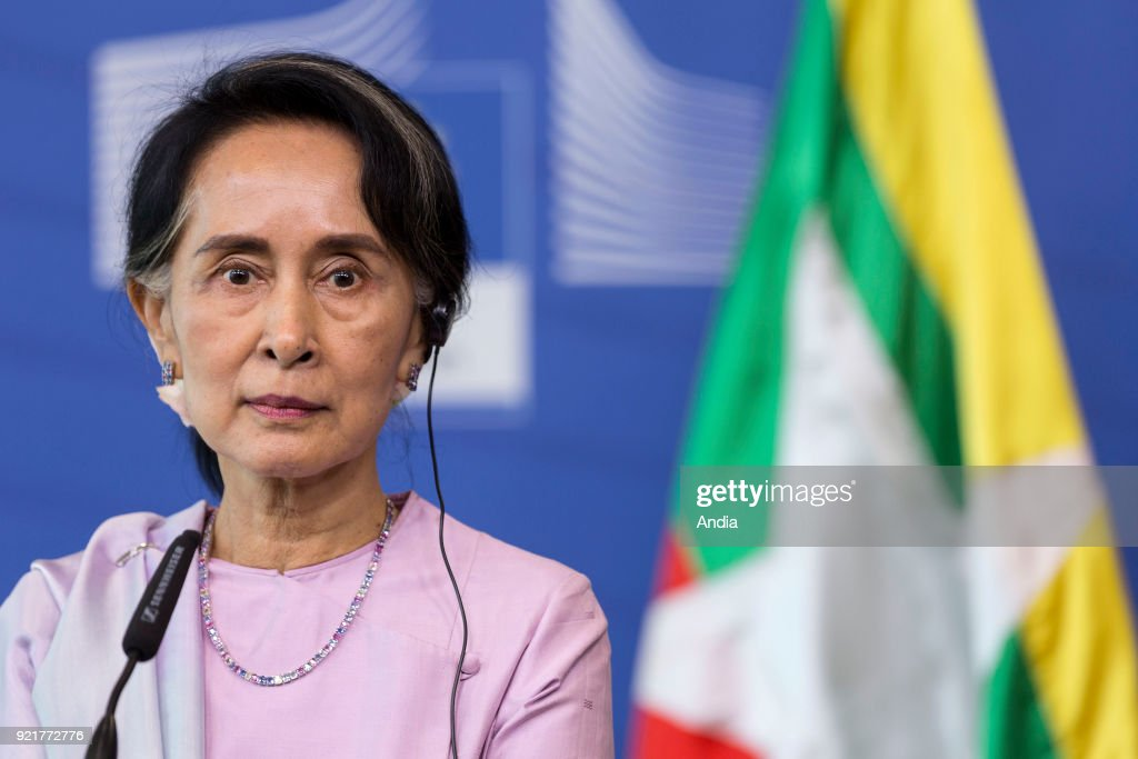 Aung San Suu Kyi, Burmese Minister of Foreign Affairs, Nobel Peace Prize 1991, official visit to the European Union.