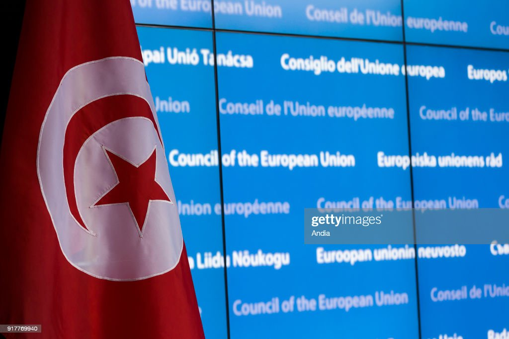 Tunisian flag on a blue background, building of the Council of Europe, on the occasion of the EU-Tunisia Association Council.