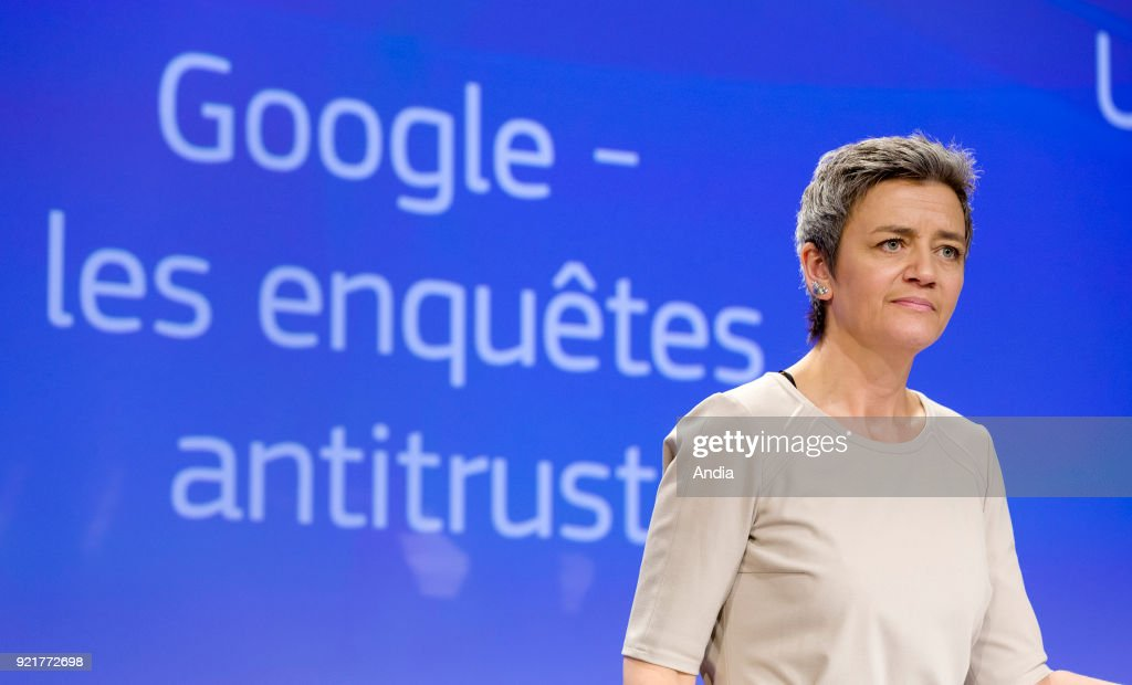 press conference with European Commissioner for Competition Margrethe Vestager after she announced an investigation into whether Google has abused its dominant position with the Android operating system for smartphones().