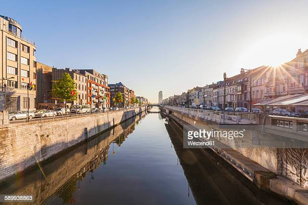 belgium, brussels, residential houses at charleroi canal - brussels capital region stock pictures, royalty-free photos & images