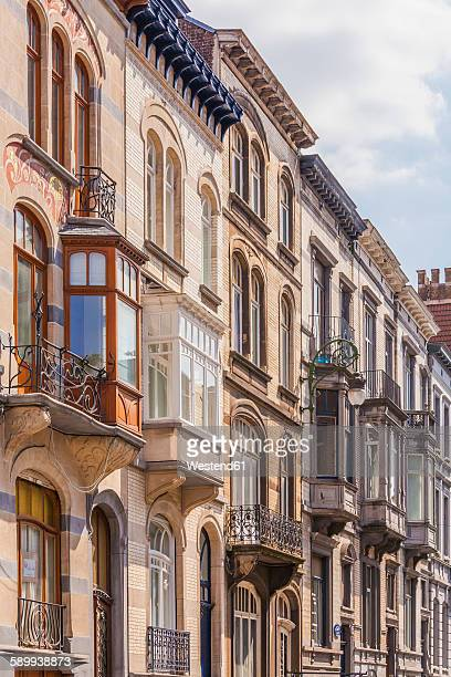 belgium, brussels, saint-gilles, art nouveau houses, avenue brugmann - art nouveau stock pictures, royalty-free photos & images