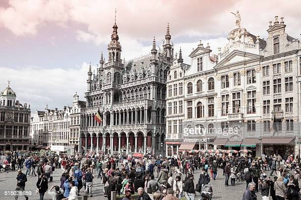 Belgium, Brussels, view to Maison du Roi, municipal museum, and guild houses at Grand Place, Grote Markt