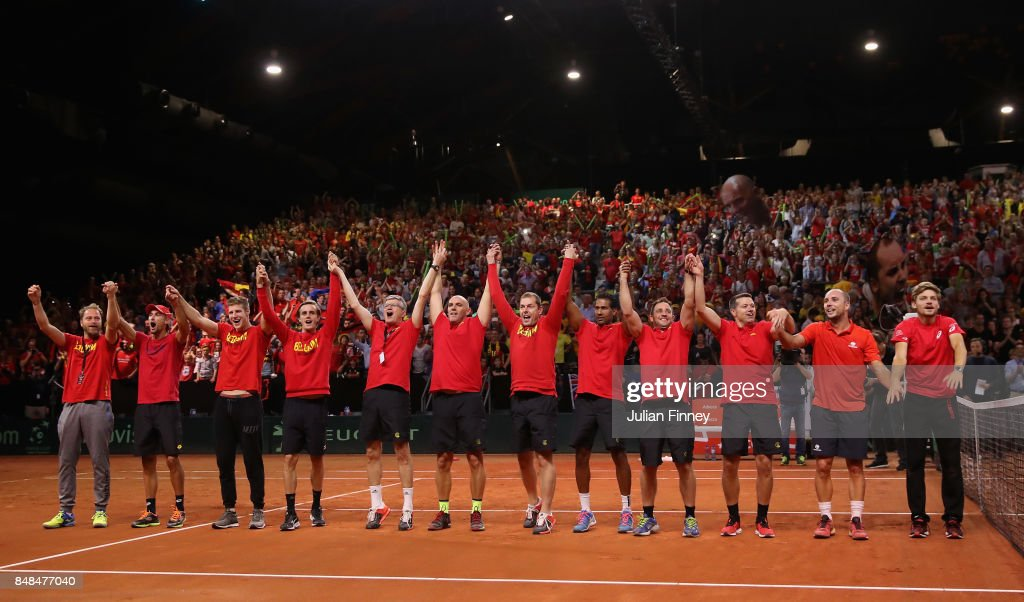 Belgium celebrate defeating Australia during day three of the Davis Cup World Group semi final match between Belgium and Australia at Palais 12 on September 17, 2017 in Brussels, Belgium.