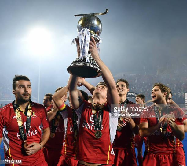 Belgium celebrate victory following the FIH Men's Hockey World Cup Final between Belgium and Netherlands at Kalinga Stadium on December 16 2018 in...