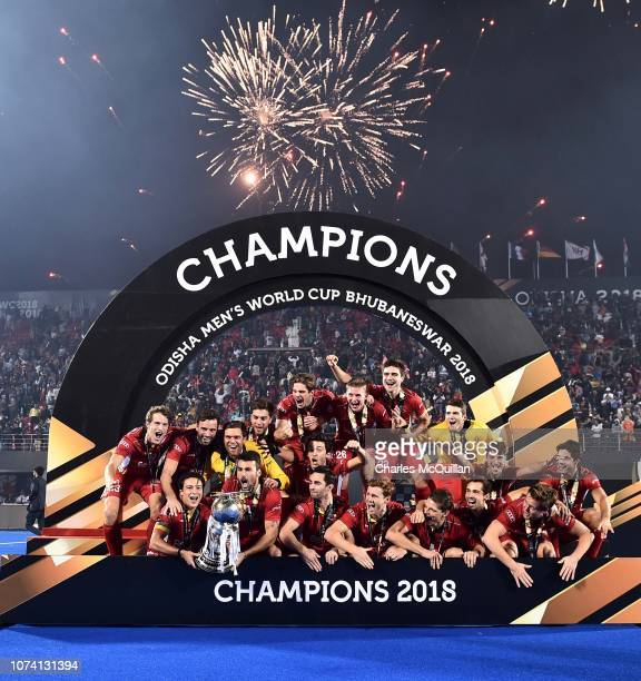 Belgium celebrate victory following the sudden death shootout during the FIH Men's Hockey World Cup Final between Belgium and Netherlands at Kalinga...