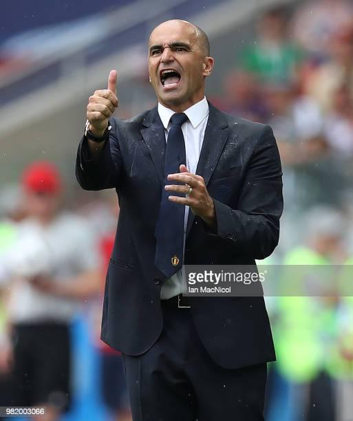 Belgium coach Roberto Martinez gestures during the 2018 FIFA World Cup Russia group G match between Belgium and Tunisia at Spartak Stadium on June...