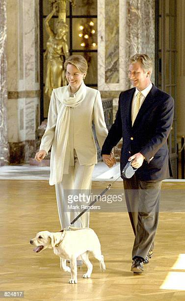 Belgium Crown Prince Philippe and his wife Princess Mathilde announce May 7 2001 that the Princess is expecting her first baby in November of this...