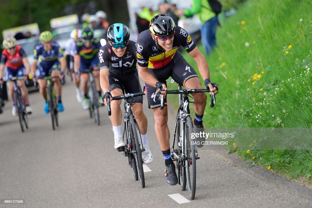 Belgium cyclist Philippe Gilbert of team Quick Step Floors (R) and Polish cyclist Michal Kwiatkowski of team Sky compete during the Amstel Gold Race classic on April 16, 2017 in Berg and Terblijt. / AFP PHOTO / ANP / Bas Czerwinski / Netherlands OUT