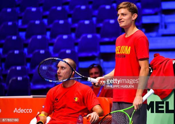 Belgium Davis Cup team players David Goffin and Steve Darcis attends a training session on November 23 2017 at the PierreMauroy stadium in Villeneuve...