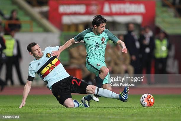 Belgium defender Vermaelen takles Portuguese midfielder Bernardo Silva during the match between Portugal and Belgium Friendly International at...