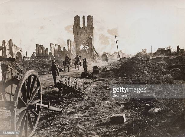 Destruction In World War I The Cloth Hall at Ypres again the center of interest